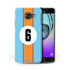 STUFF4 Hülle/Case für Samsung Galaxy A3 (2016)/Gulf/Blau/Rennwagen Streifen