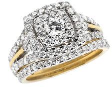 14K Yellow Gold Halo Cushion Cluster Genuine Diamond Engagement Ring Set 1.90ct