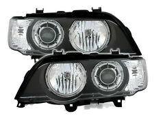 ANGEL EYES XENON Headlights in black for BMW X5 E53 00-03 White indicator