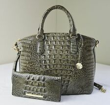 Brahmin Forest Green Melbourne Duxbury Satchel Shoulder Bag + Ady Wallet