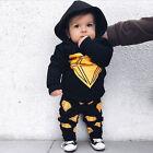 2 pièces Petit Enfant nouveau-né bébé garçons à capuche hauts chemise + pantalon