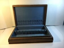 New listing Vintage Silverware Flatware Wooden Box Set for 12 Storage Blue Lining
