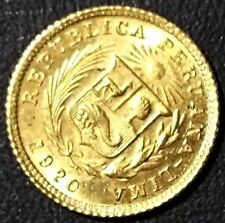 REPUBLICA PERUANA  PERUVIANA PERU' 1/5 DE LIBRA 1920 ORO GOLD OR INDIAN