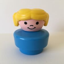 "Vintage Fisher Price Chunky Little People Girl ""Peggy"" Blonde Hair Blue Body EUC"