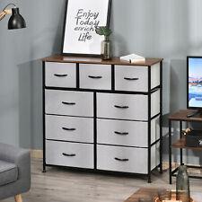 9 Drawers Storage Chest Dresser Storage Organizer Unit w/ Foldable Fabric Bins