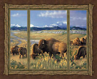 Buffalos Wall Hanging Quilting Panels Cotton Fabric - Wild Wings Bison Range