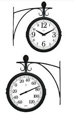 Springfield Decorative Indoor Outdoor Thermometer Station Clock