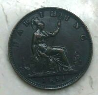 1881 H Great Britain Farthing - Nice XF - Some Green on Obverse