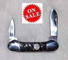 "Genuine Black Horn Handles JB Outman 2 Blade 3"" Canoe Folding Pocket Knife JB040"