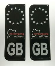 NURBURGRING GB Grey on Black Vehicle Number Plate Stickers HIGH GLOSS DOMED GEL
