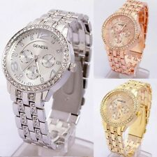 GENEVA Armbanduhr Damenuhr Quarzuhr Uhr mit Strass Edelstahl DE stock