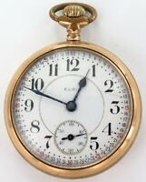 .1910 ELGIN B W RAYMOND 18S 19J 5 AD RR GRADE MOTOR BARREL MENS POCKET WATCH.