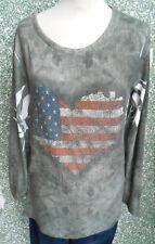 20 196/4 Lindsay Moda Pullover Shirt Gr. M Pulli Strass khaki weiß Print