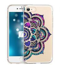 Coque Iphone 7 PLUS 8 PLUS Mandala fluo rose violet doodling transparente