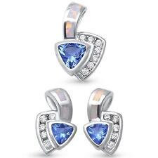 White Opal Trillion Tanzanite Sterling Silver Earring Pendant Set