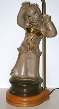 Nice Vintage Porcelain Asian Figure Table Lamp Wood Base with 3 Way switch
