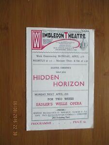 1945 WIMBLEDON THEATRE AGATHA CHRISTIE HIDDEN HORIZON PROGRAMME
