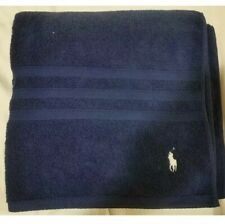 RALPH LAUREN Designer Bath Towel Navy White Logo Stylish Gym Holidays Swimming