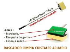 RASCADOR 55cm LIMPIA CRISTALES  y algas ACUARIO mango ACERO INOXIDABLE pecera