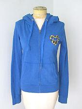 Victoria's Secret LOVE Pink blue zip hoodie sweatshirt leopard heart Sz S