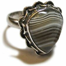 Gorgeous Size 7 3/4 Sterling Silver Agate Ring