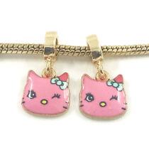 Fashion 2pcs Cat Gold European Charm Spacer Beads Fit Necklace Bracelet DIY
