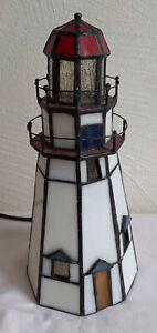 Leuchtturm Tiffany Lampe Maritim Nautika Stehlampe Lichtsäule Tischlampe
