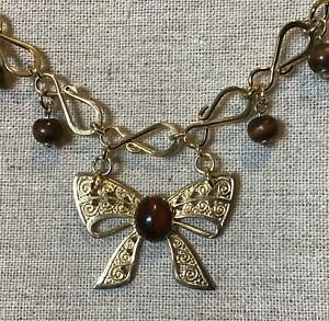 Bow Necklace- Unique Chain, Up Cycled Bow, Brown Wood Beads, Gold Tone
