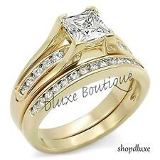 Plated Wedding Ring Set Women's Size 5-10 2.10 Ct Princess Cut Aaa Cz 14k Gold