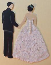 "BRIDE & GROOM Die-Cut Pre-Made Approx:3-1/4x 2.5""(1pc)Wedding•Ceremony Dress•Tux"