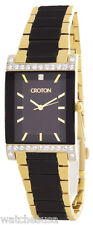 Croton Womens Black Dial Gold and black Stainless Steel Bracelet Watch