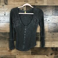 Free People Womens Lace Gray Top Size XS
