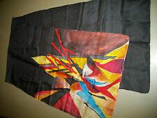 Foulard, Etole en Soie 45x 185 cm, Noir Motif Rouge, Roulotté Main, TBE