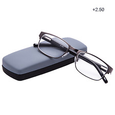 Reading Glasses Readers Metal Rectangular Office Work Quality Men with Case 2.50