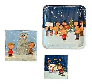 Peanuts Charlie Brown Snoopy Christmas Paper Dinner Dessert Plates & Napkins
