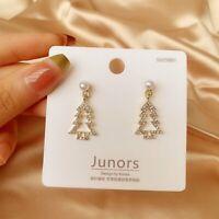 Crystal Pearl Christmas Tree Earrings Ear Stud Dangle Charm Xmas Jewelry Women