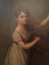 GEORGIAN 18TH C LAWRENCE COSWAY DOWNMAN STYLE OIL ON CANVAS GIRL AND SPANIEL