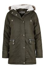 NEW WOMENS LADIES PLUS SIZE PARKA HOODED FAUX FUR WINTER MILITARY COAT JACKET
