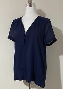 Forever New Size 8 10 S Top Navy Blue Short Sleeve V-Neck Front Zip Work