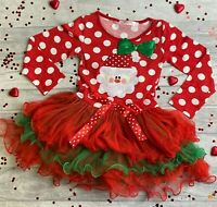CHRISTMAS TUTU ROMPER GIFT Red Glitter Santa is my Bestie White Dress Present