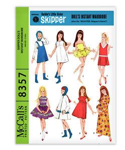 "Barbie Doll Skipper Sewing Pattern McCalls 8357 Tutu Dress Coat Pants Jumper 9"""