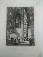 Ancienne gravure sur acier Cathèdrale de Strasbourg Rouargue Frères XIXème