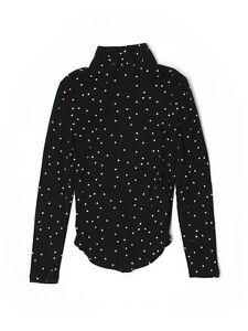 GAP Girl Long Sleeve Turtleneck Black White Stars Ribbed Knit Top Cotton 6-7 S