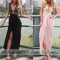 AU Sexy Sleeveless V Neck Lace Slit Maxi Formal Wedding Party Evening Long Dress