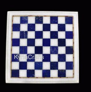 12 x 12 Inches Marble Bed Side Table Top Square Shape Chess Table Inlay Work