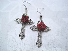 *LARGE ORNATE SILVER CROSS* Red Rose Gothic Earrings Dita Madonna Gothic