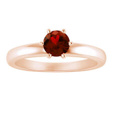 1 Ct Garnet Solitaire Solid 14k Rose Gold Engagement Wedding Promise Ring