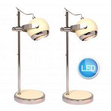 COPPIA DI MODERNI Retrò Lucida Crema & Chrome lampade da tavolo da comodino luce lampadine LED Inc.