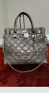 MICHAEL Kors Hamilton Studded Quilted Metallic Distressed Leather Gold/Silver