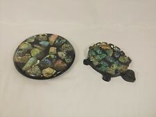 Abalone Shell Trivet Hot Plate & Paua Shell Turtle Ashtray - Mother of Pearl